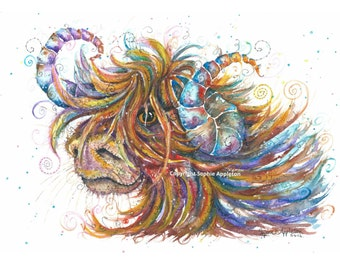Picture Highland Cow Swirls - A4 Watercolour Painting printed on watercolor paper, each is hand signed by Sophie Appleton