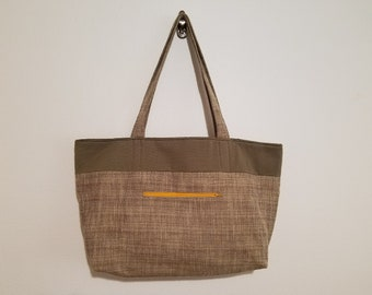 Tote Bag / Upcycled / Corduroy / Yellow Zipper / Brown Nubby