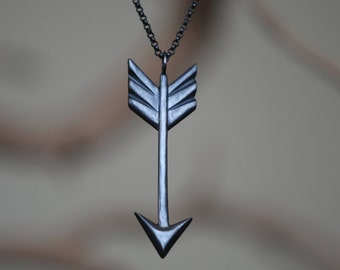 Oxidized Arrow Necklace, Black Sterling Silver, Handcrafted, Tribal, Arrows, Geometric, Chevron, Triangle, Shorter Chain.
