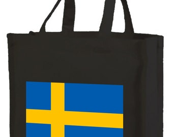 Swedish Flag Cotton Shopping Bag with gusset and long handles,