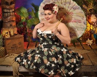Hawaiian inspired pin up pineapple dress