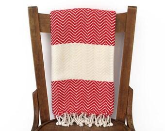Werfen Sie Decke Pestemal Couch werfen Sofa Throw türkische Handtuch handgewebte Baumwolle Türkisch Bad Handtuch Spa Fouta Tuch Strand Wrap ROTEN CHEVRON LALE