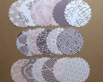 "50 - 2 1/2"" Scalloped Circles Assorted Prints  Set S2"
