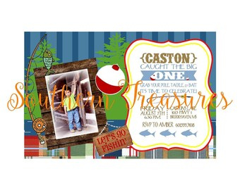 Fishing Party Boy Invitation Template 5x7 or 4x6PRINTABLE-instant download