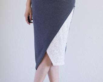 Clothing gifts for her . Asymmetric tango skirt, Soft stretchy jersey knit skirt, Duo fabric cross front skirt, Knee length skirt
