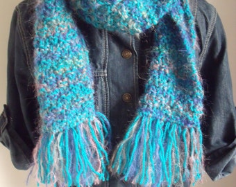 Frills scarf in turquoise with kid mohair in blue/pink/Brown (150/19 cm)