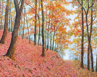Autumn Painting - Fall Leaves Painting - Fall Landscape - Nature Art - Matted Print