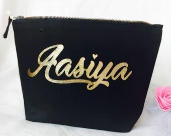 Bridesmaid gift cosmetic makeup bag