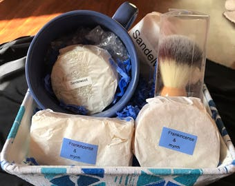 Mens shaving cup and brush
