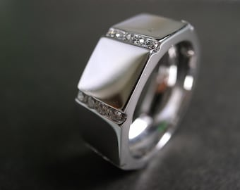 Men's Wedding Diamond Ring in 14K White Gold