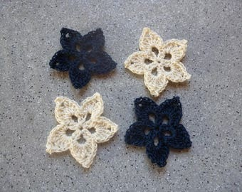4 flowers crochet handmade cotton blue color ecru