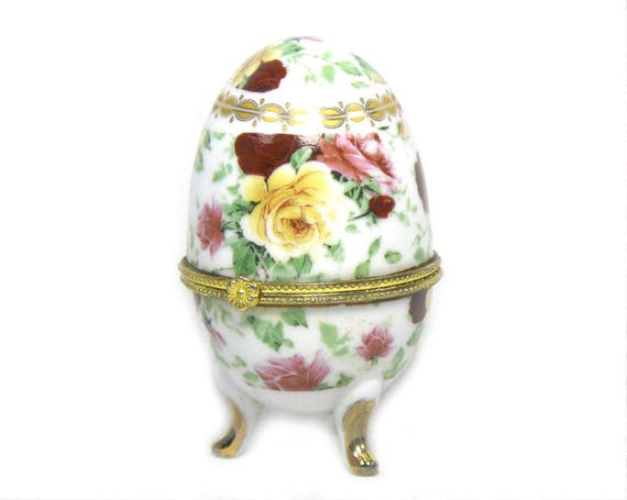 Vintage French Limoges Egg with Roses