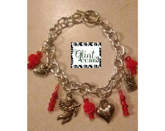 Free shipping_ Valentines day Gift Stainless Silver Cupid Charm Red Rose Bracelet