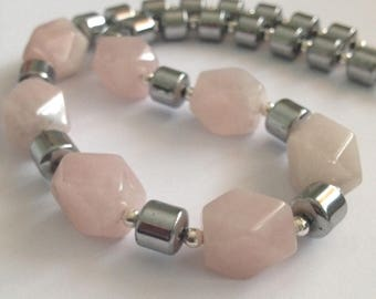 Rose Quartz Chunky, Statement Necklace, Gemstone Necklace, Women's Gift, Gift for Her, Birthday Gift, Anniversary Gift