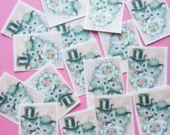 Cute Kitten Wedding Stickers - Set of 16 - Handmade Stickers, Vintage Style, Vintage Wedding, Journal, Planner Stickers, Kitten Stickers