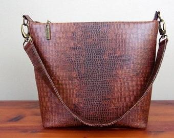 Brown Faux Alligator Jade Handbag Shoulder Bag