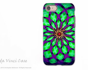 Geometric Lotus iPhone 7 and iPhone 8 Tough Case - Purple and Green Abstract Art - Dual Layer Protection - Kalotuscope