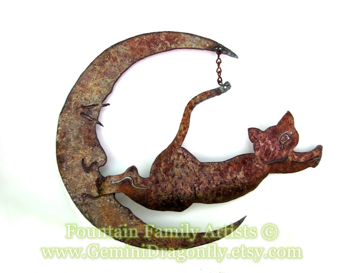 Rusty Cat Jumping Over the Moon Garden Art Recycled Metal