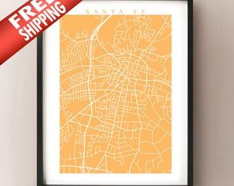 Santa Fe Map Art - New Mexico Poster