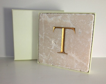Hand Carved Gold Letter 'T' in Stone Wall Tile.  Personalised Gift.  Wall Hanging.  Decorative Arts.  Letter Carving