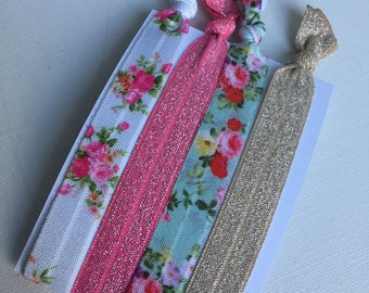 Floral glitter hair tie elastics, pink and gold glitter hair ties