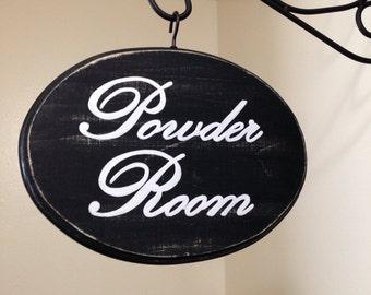 FREE SHIPPING Powder Room Sign (7x9) (Black)