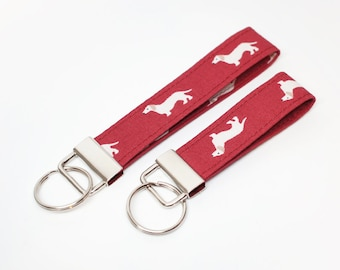Burgundy Dog - Key Chain / Key Fob / Wristlet - Choose Your lenght