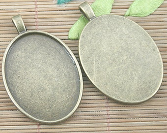 4pcs antiqued bronze oval cameo cabochon settings EF1234