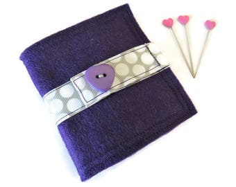 Needle Book - Felt Needle Case - Purple Felt Needle Case - Sewing Needle Case - Hand Sewing Needle Case - Needle Book