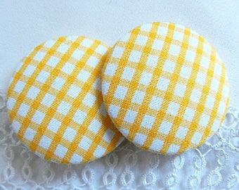 Yellow gingham fabric button, 40 mm / 1.57 in