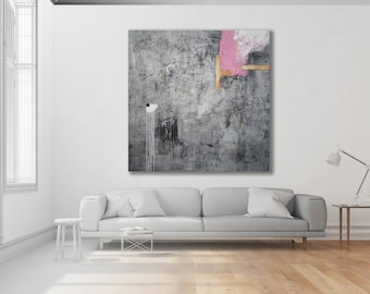 Textured Grey and Pink Abstract Painting / Modern Art / Extra Large Abstract Art / Grey Art / Contemporary Art / Original Art