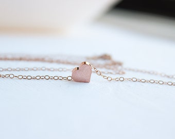 Rose Gold Heart Necklace, Rose Gold Jewelry, Dainty Rose Gold Jewelry, Rose Gold Heart, Bridesmaid gifts