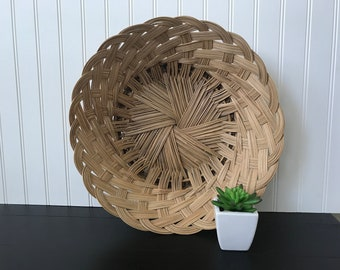 Vintage Wicker Basket, Large Wicker Centerpiece Bowl, Basket Wall Decor, Round Basket for Wall, Rustic Farmhouse, Boho Chic, 15-1/2 Inches