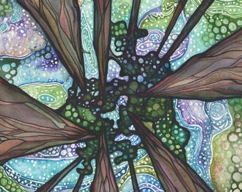 Beneath Magic 5 x 7 print of ancient giant sequoia redwoods trees painting, forest sky galaxy psychedelic northern lights aurora borealis
