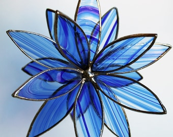 2 Sizes-Blue Baroque Stained Glass 3D Flower -Suncatcher - In Full Bloom-Free U.S. Shipping