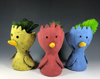 Little Pothead Peeps Birdies // Birds // Yellow // Blue // Red // Succulent Pots // Planters // Small // Handmade // One of a Kind //