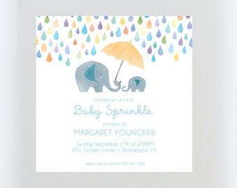 Elephant Baby Shower Invitation//Sprinkle//Gender Neutral Baby Shower