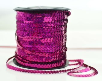 Metallic Sequins Trim Strand Ribbon 1/4-Inch - choose your color MS012118