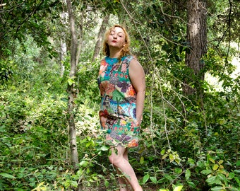 Art Nouveau Mini Dress, Colorful Sleeveless Mod Dress, Klimt Inspired Floral Aline Dress