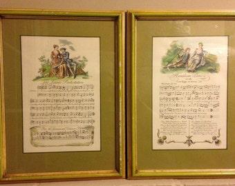 Vintage  Sheet Music Framed- French- Victorian
