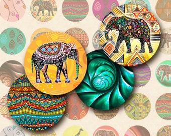 Patterns, elephants 1x1 Inch Circles Digital Collage Sheet Printable Images for pendants, bottle caps, bezel cabs, scrapbooking