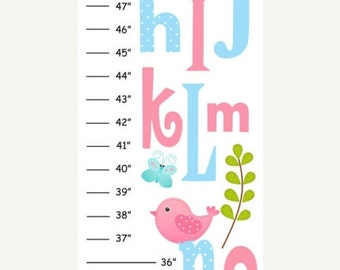 Personalized Pink & Blue ABC Birds Canvas Growth Chart
