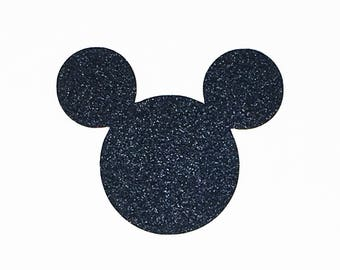 Disney Mickey Mouse Die Cut Black Glitter Cardstock - 4 Inch Size - Scrapbook Greeting Card Birthday Party Decoration Art Craft