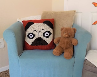 Striped Pug Pillow Cover