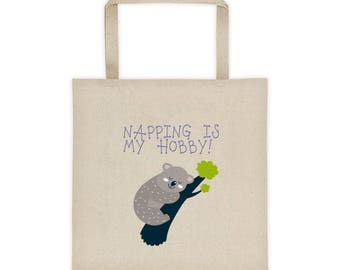 Napping Is My Hobby Koala Bear Tote Bag