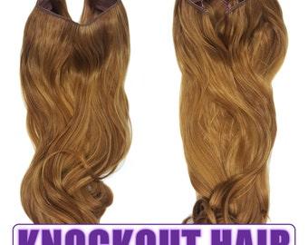 "Fits like a Halo Hair Extensions 20"" - 150 Grams 100% Premium Fiber Wavy Hair (Light Golden Brown/Dark Golden Blonde - P#27/27HY)"