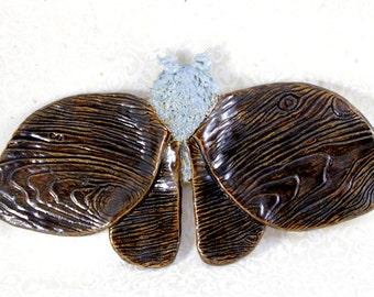 Ceramic Moth Wood Grain Wings Wall Hanging