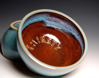 Small Dog Water Dish - Brown and Teal Pottery