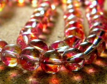 50 translucent glass 2 tones - fuchsia and orange - 8 mm beads - 2 PE233