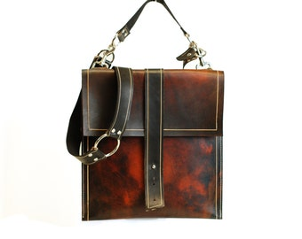 Distressed Leather Satchel - Hand Painted Leather Messenger Bag - Leather Briefcase Schoolbag